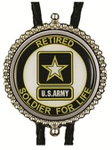 US Army Retired Soldier for Life Bolo Tie