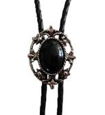 Vintage Oval Black Onyx Bolo Tie