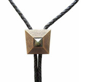 Vintage Gold Plated Natural Labradorite Stone Window of Pyramid Bolo Tie