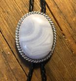 Blue Lace Agate Stone Rope Design Bolo Tie