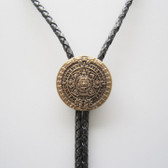Classic Antique Gold Plated Aztec Calendar Wedding Bolo Tie Leather Necklace