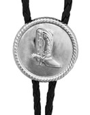Round Men's Western Bolo Tie with Silver Boot with Black Cord