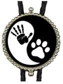 Black & White, Yin & Yang Hand-Paw Bolo Tie