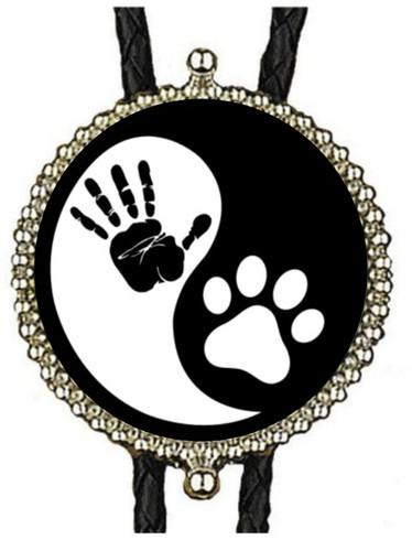 Black & White Yin & Yang Hand-Paw Bolo Tie