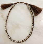 Braided Brown & Tan Beaded Wrap, Brown Horse Hair Hat Band.