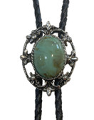 VINTAGE OVAL TURQUOISE STONE BOLO TIE