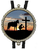 Cowboy Praying at Sundown Bolo Tie