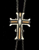Three Tone Cross Silver with Copper Accents Bolo Tie