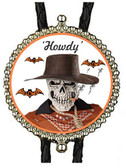 Happy Halloween Scary Skull Smoking Cowboy, Bats Bolo Tie