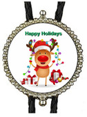 Happy Holidays Christmas Reindeer Bolo Tie