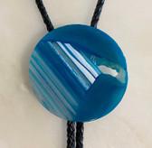2 Inch Round Blue Lace Agate Stone Bolo Tie