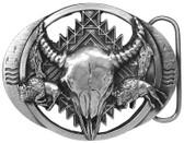 Made in the USA - Steer Skull & 2 Bisons Belt Buckle