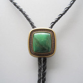 Antique Gold Plated Handcrafted Natural Greenstone Bolo Tie