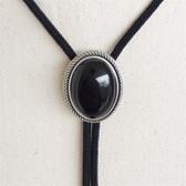 Natural Black Obsidian Stone Oval Bolo Tie