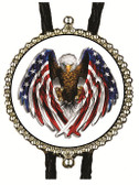 American Bald Eagle Wings  with U.S. Flag Design Bolo Tie (White Background)