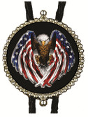 American Bald Eagle Wings  with U.S. Flag Design Bolo Tie (Black Background)