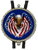 American Bald Eagle Wings  with U.S. Flag Design Bolo Tie (Blue Background)