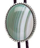 Striped Green Agate Cabocon Bolo Tie