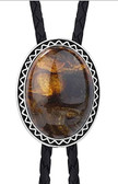 Tiger Eye Bolo Tie with Antique Frame & Tips