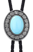 Oval Blue Turquoise  Bolo Tie with Antique Frame & Tips