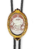 Rose Cameo Floral Beaded Bolo Tie (Silver or Gold Finish)