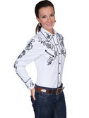 Scully Ladies Embroidered Shirt Swril White