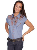 Scully Ladies Embroidered Shirt Blue