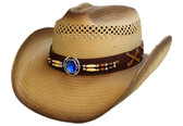 SEMI CATTLEMAN STYLE WITH TURQUOISE CONCHO AND BEADS ON LEATHER Cowboy Hat BAND