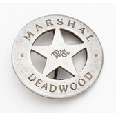 SILVER OLD WEST DEADWOOD MARSHALL BADGE