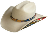 SILVER WOOL Cowboy Hat WITH STAR CONCHOS ON LEATHER Cowboy Hat BAND AND THE UNITED STATES FLAG BEHIND THE AMERICAN EAGLE ON THE LEATHER PLACED ON SIDE OF THE BRIM.( AVAILABLE MARCH 1st)