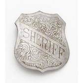 SILVER, ENGRAVED SHERIFF BADGE