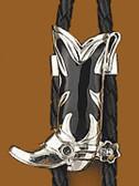 Silver Boot Bolo Tie