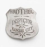 SILVER KANSAS CITY BROTHEL INSPECTOR BADGE 41688