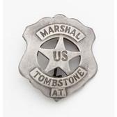 SILVER U.S. TOMBSTONE MARSHALL BADGE