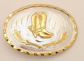 """Small German Silver Buckle with Boots, 2-3/4"""" x 2"""""""