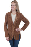 Women Cinnamon Boar Fringe Suede Jacket