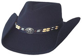 SOFT SEMI-CRUSH, FASHION BLACK WOOL FELT Cowboy Hat, WITH WIRED BRIM, PINCHED FRONT AND CENTERED STAR, STAR CONCHO WITH BEADED BAND