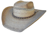 SQUARE TOP VENTED CROWN PALM LEAF Cowboy Hat WITH LEATHER Cowboy Hat BAND