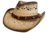 TEA STAINED OUTBACK SHAPED, CROTCHED WEAVE WITH VENTED CROWN AND ELASTIC
