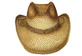 TEA STAINED TWISTED PAPER STRAW, OUTBACK SHAPE,WITH LEATHER Cowboy Hat BAND.