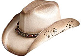 TEA STAINED JUTE FIBER WESTERN Cowboy Hat WITH METAL STUDS ON SIDES & BEADED Cowboy Hat BAND.