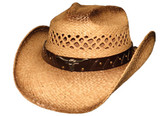TEA STAINED VENTED STRAW Cowboy Hat WITH LONGHORN CONCHO ON LEATHER Cowboy Hat BAND, CHIN CORD AND ELASTIC