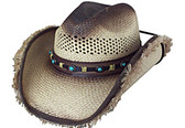 TEA STAINED LOW CROWN CATTLEMAN PANAMA, WITH TURQUOISE STONES LEATHER Cowboy Hat BAND, BROWN EDGE AND FRINGES, WITH CHIN CORD.