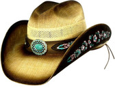 Ladies (Dallas Hat) SEMI CATTLEMAN JUTE FIBER VENTED CROWN WITH TURQUOISE CENTERED CONCHO, PINK AND TURQUOISE EMBROIDERED LEATHER HAT BAND AND BRIM