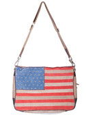 Suede flag handbag with studded stars and leather trim