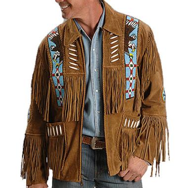 Brown Suede Fringed Native Designed Jacket