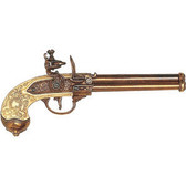 Triple Barrel Flintlock Pistol - Brass