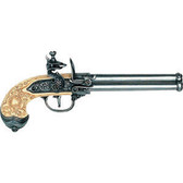 Triple-Barrel Flintlock Pistol - Pewter