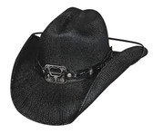 """Twist Off straw cowboy hat by Bullhide® Hats.  Brim: 3 7/8""""  Available in sizes Small, Med, Large, XL. Black with bottle opener and UV reaction """"Bull Snot"""""""