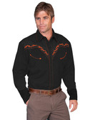 Western Shirt Poly/rayon blend snap front shirt. Silhouette horse embroidery (back).